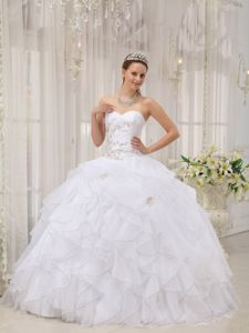 Organza Sweetheart Appliques Ruffled Ball Gown Sweet Sixteen Dress