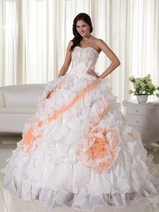 Court Train Sweetheart Applique Organza Lace Up Quinceanera Dress