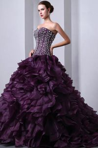 Brush Train Sweetheart Beading Ruffle Purple Organza Quinceanea Gown