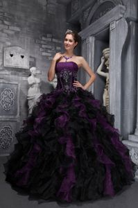Ruffled Strapless Appliques Floor-length Purple and Black Quinces Dress