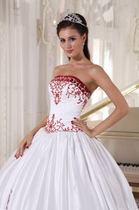 Embroidery Strapless White and Wine Red Ball Gown Quinceanera Dress