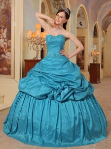 Teal Beading Taffeta Quinceanera Dresses with Sweetheart and Pick Ups