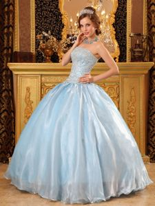 Strapless Beading Organza Baby Blue Cool Back Dress For Quinceanera