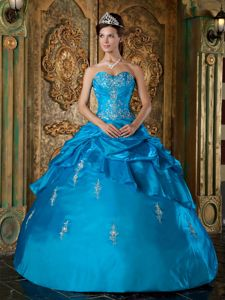 Taffeta Appliques Sweetheart Ruches Layered Teal Quinceaneras Dress