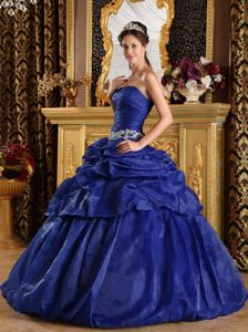 Pick Up Strapless Appliques Ruched Royal Blue Sweet Sixteen Dress