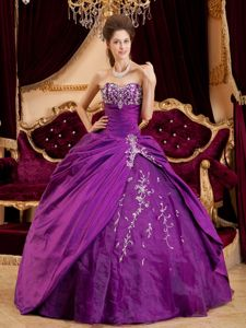 Sweetheart Appliques Ruches Taffeta and Tulle Purple Quinceanera Dress