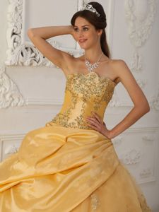 Beading Applique Strapless Lace Up Back Gold Quinceanera Gown Dress