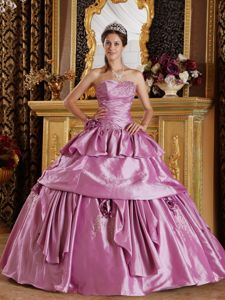 Ruched Beading Strapless Handle Flower Lavender Dress for Quince