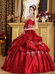 Hand Made Flower Strapless Applique Pick-up Wine Red Sweet 16 Dress