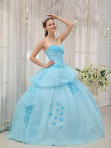 Appliques Sweetheart Ruched Pick Ups Light Blue Quinceanera Dress