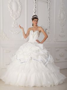 Sweetheart Beading Ruffled Layers White Organza Quinceanera Dress