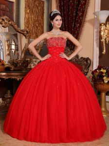 Best Beading Red Strapless Floor-length Tulle Sweet Sixteen Dresses