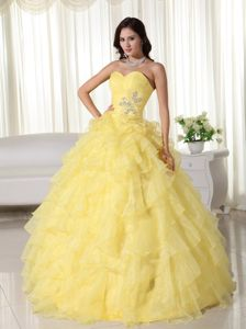 Sweetheart Ruche Yellow Appliques Quinceanera Dress with Ruffles