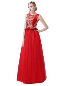 Glamorous Red Empire Tulle Scoop Sleeveless Beading and Appliques Floor Length Zipper Mother of the Bride Dress