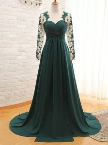 Lace Mother of Groom Dress Teal Zipper Long Sleeves With Train