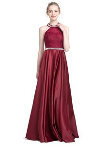 Comfortable Halter Top Beading and Lace Mother Dresses Burgundy Zipper Sleeveless Floor Length