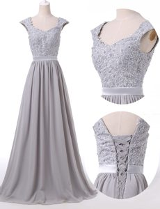Elegant Pleated Floor Length Grey Mother of Groom Dress Scoop Cap Sleeves Lace Up