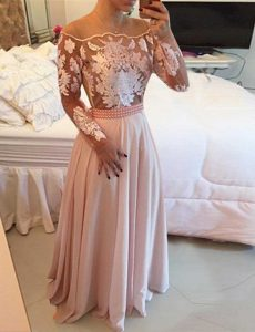 Pink Scoop Neckline Beading and Appliques and Sashes ribbons Mother of Groom Dress Long Sleeves Side Zipper