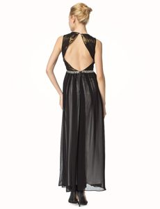 Traditional Black Backless V-neck Beading and Pleated Mother Dresses Chiffon Sleeveless