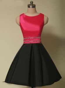 Dazzling Scoop Satin Sleeveless Mini Length Mother of the Bride Dress and Beading