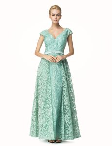 Lace Turquoise Cap Sleeves Pleated Zipper Mother of Groom Dress