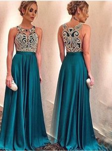 Modest Scoop Floor Length A-line Sleeveless Teal Mother Dresses Zipper