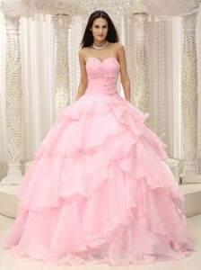 Baby Pink Ruching Sweetheart Hand Made Flowers For Quinceanera Dress