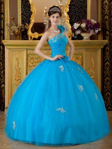 One Shoulder Teal Floor-length Tulle Quinceanera Dress with Appliques