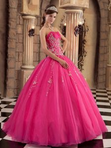 Hot Pink Ruching Ball Gown Organza Beading Quinceanera Dress