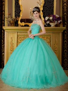 Strapless Turquoise Floor-length Sweet Sixteen Dresses with Beading