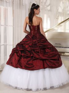 Sweetheart Appliques Quinceanera Dress in Burgundy and White