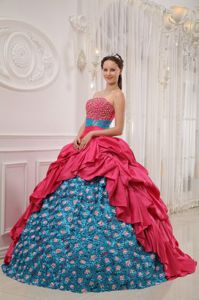Red and Blue Ruche Strapless Floor-length Beading Quinceanera Dress