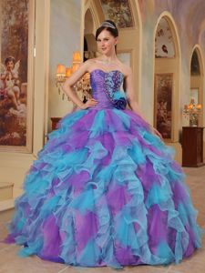 Purple and Aqua Blue Ruffles Quinceanera Dress with Hand Flower