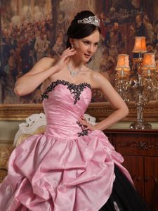 Rose Pink and Black Quinceanera Dress with Hand Flowers and Pick-ups