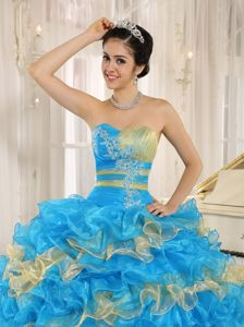 Blue and Yellow Ruffles Sale Sweet Sixteen Dresses with Appliques