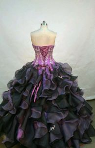 Cheap Multi-color Ruffled Appliqued Strapless Quinceanera Gowns