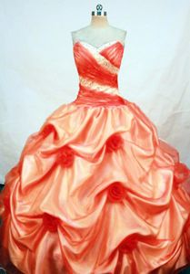 Orange Flowers Ruched Beaded Sweet Sixteen Quinceanera Dress