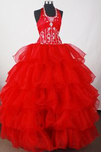 Red Halter Organza Sweet 16 Dresses with Beading and Ruffled Layers