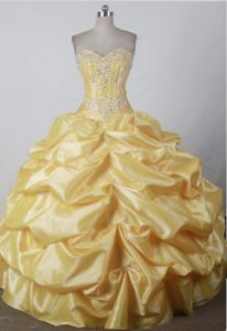 Sweet Pick-ups and Beading for Sweetheart Yellow Quince Dresses