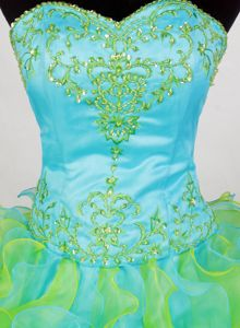 Luxurious Ruffled Quinceanera Dress in Yellow Green And Aqua Blue