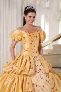 Gold Ball Gown off the Shoulder Embroidery Quinceanera Dress