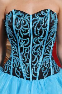 Aqua Blue Boning Details Embroidery with Beaded Dress for Quince