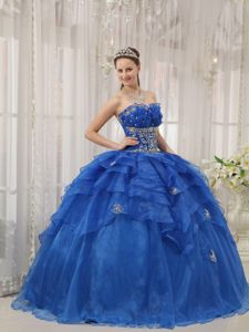 Blue Strapless Beading Ruffles and Layers Modest Quinceanera Dress