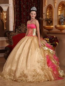 Gold and Hot Pink Strapless Embroidery Quinceanera Dress