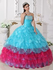 Aqua Blue and Hot Pink Appliques Dress for Quince with Ruching