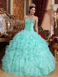 Apple Green Beading and Ruffles Quinceanera Dress with Ruching