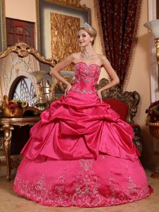 Hot Pink Sweetheart Embroidery with Beading Quinceanera Dress