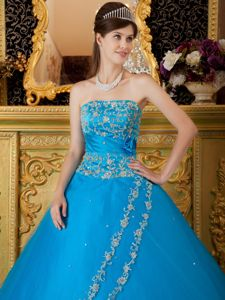 Teal Strapless Tulle Lace Appliques Dress for Quinceaneras