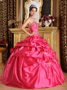 Hot Pink Ball Gown Pick-ups Quinceanera Dress with Lace up Back