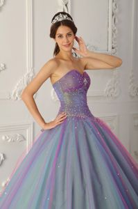 Multi-color Beading Scattered Quinceanera Dress like Rainbow